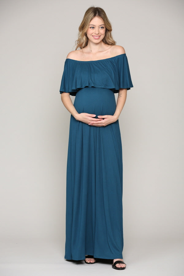 Solid Off Shoulder Maternity Maxi Dress with Ruffles