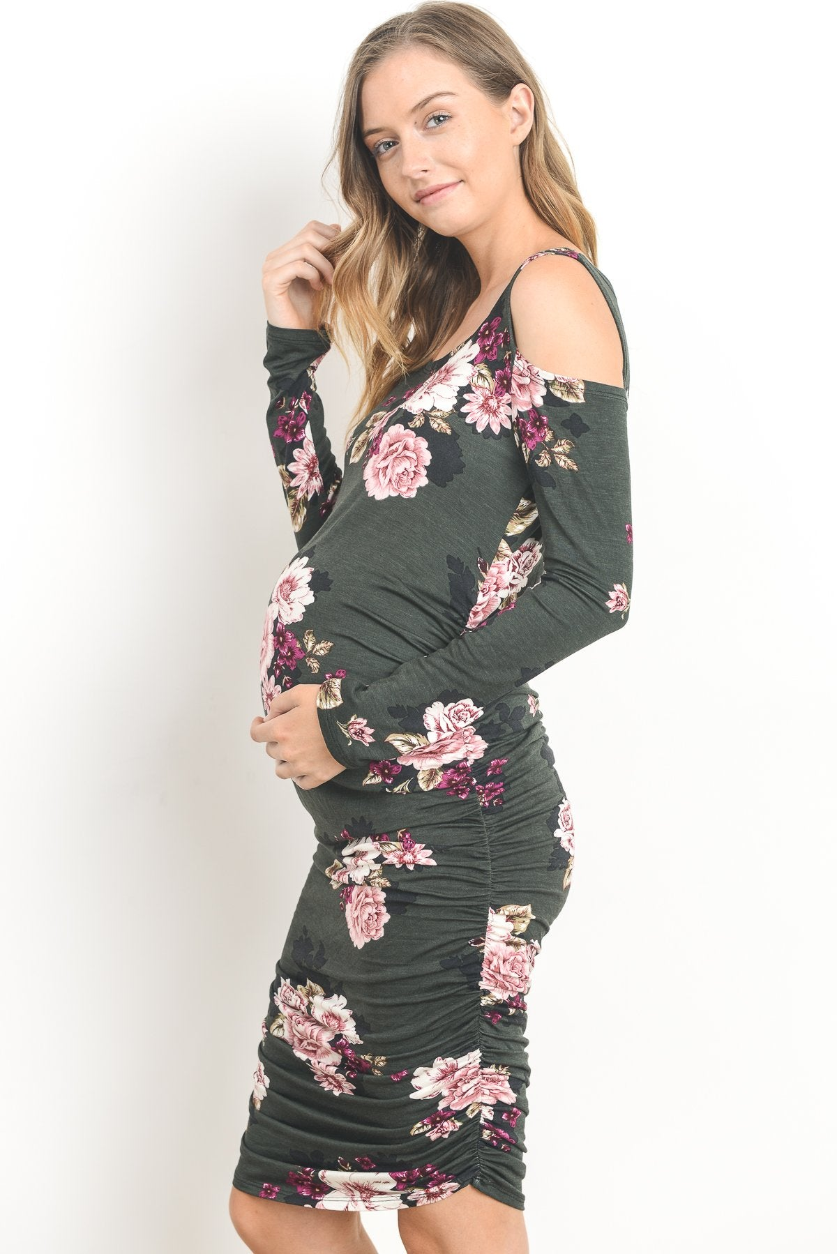 Cold Shoulder Bodycon Long Sleeve Maternity Dress