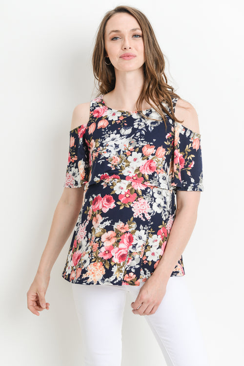 Floral cold shoulder maternity/nursing top