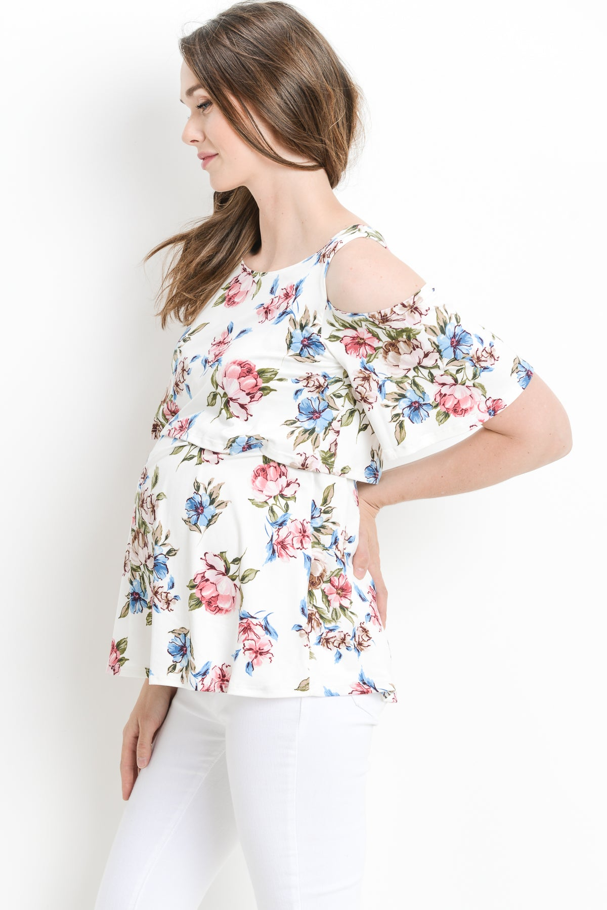 Floral Cold Shoulder Maternity & Nursing Top