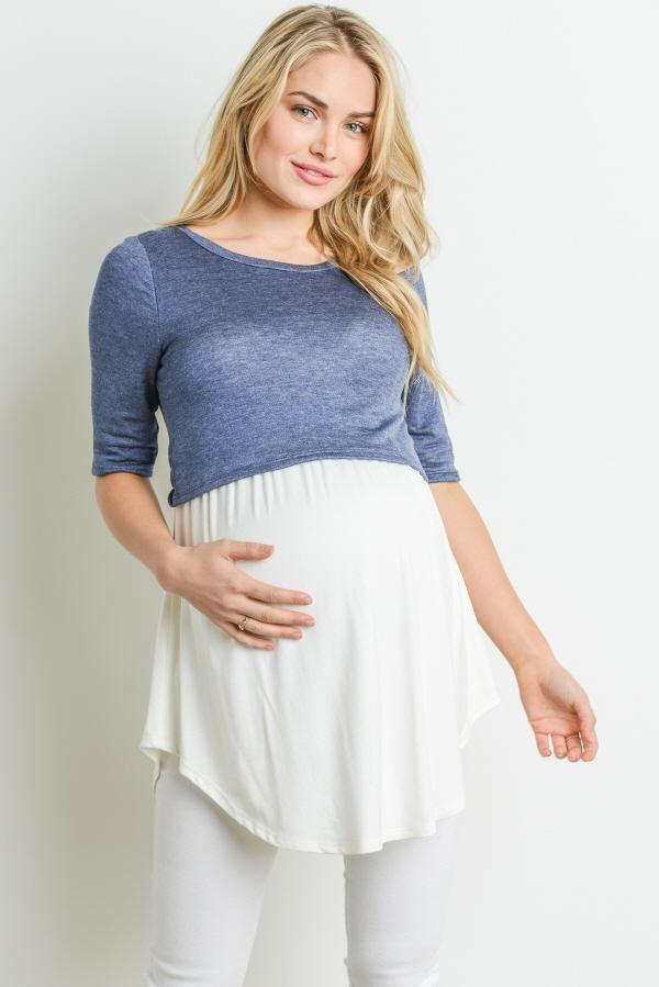 Color Block Maternity & Nursing Tunic