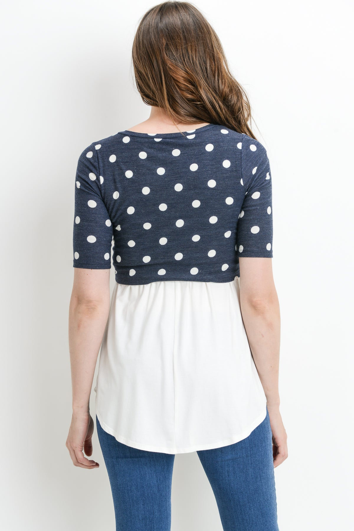 Polka Dot Color Block Maternity & Nursing Tunic