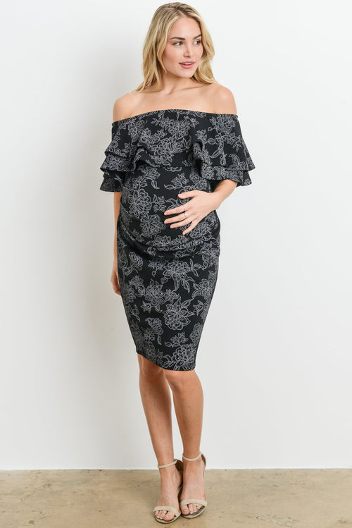 Sydney Double Ruffle Off Shoulder Maternity Dress