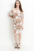 Double Ruffle Off Shoulder Maternity Dress, Flowers