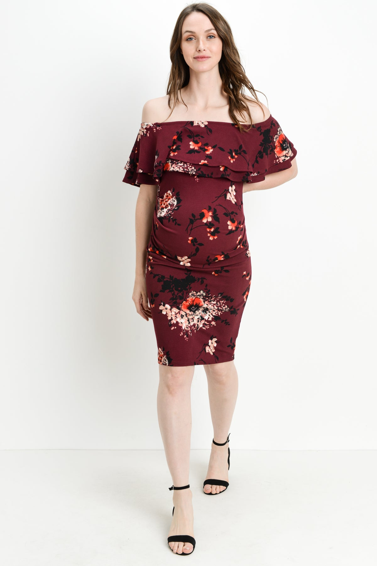 Double Ruffle Off Shoulder Maternity Dress, Stems