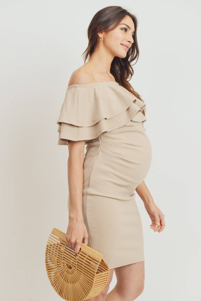 Double Ruffle Off Shoulder Maternity Dress
