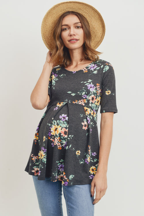 FLORAL FRONT PEPLUM MATERNITY TOP