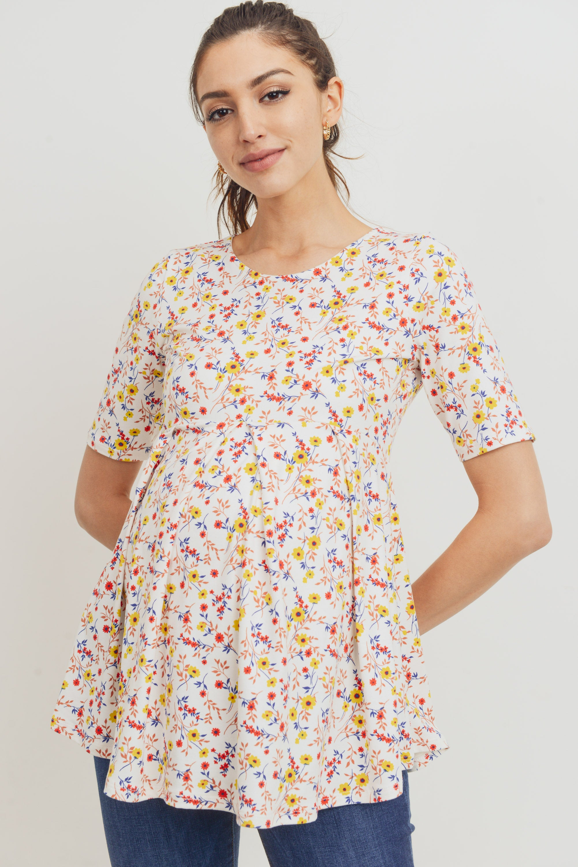 Floral Peplum Pleated Maternity Shirt