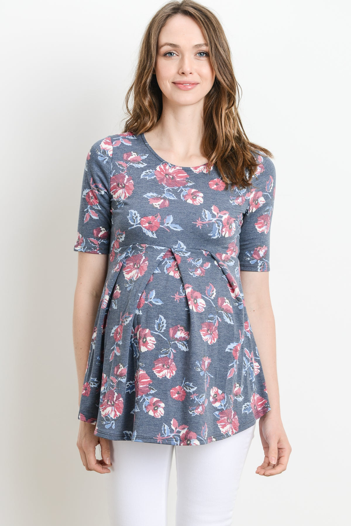 Floral Front Pleated Maternity Top