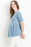 Polka Dot Front Pleated Maternity Top