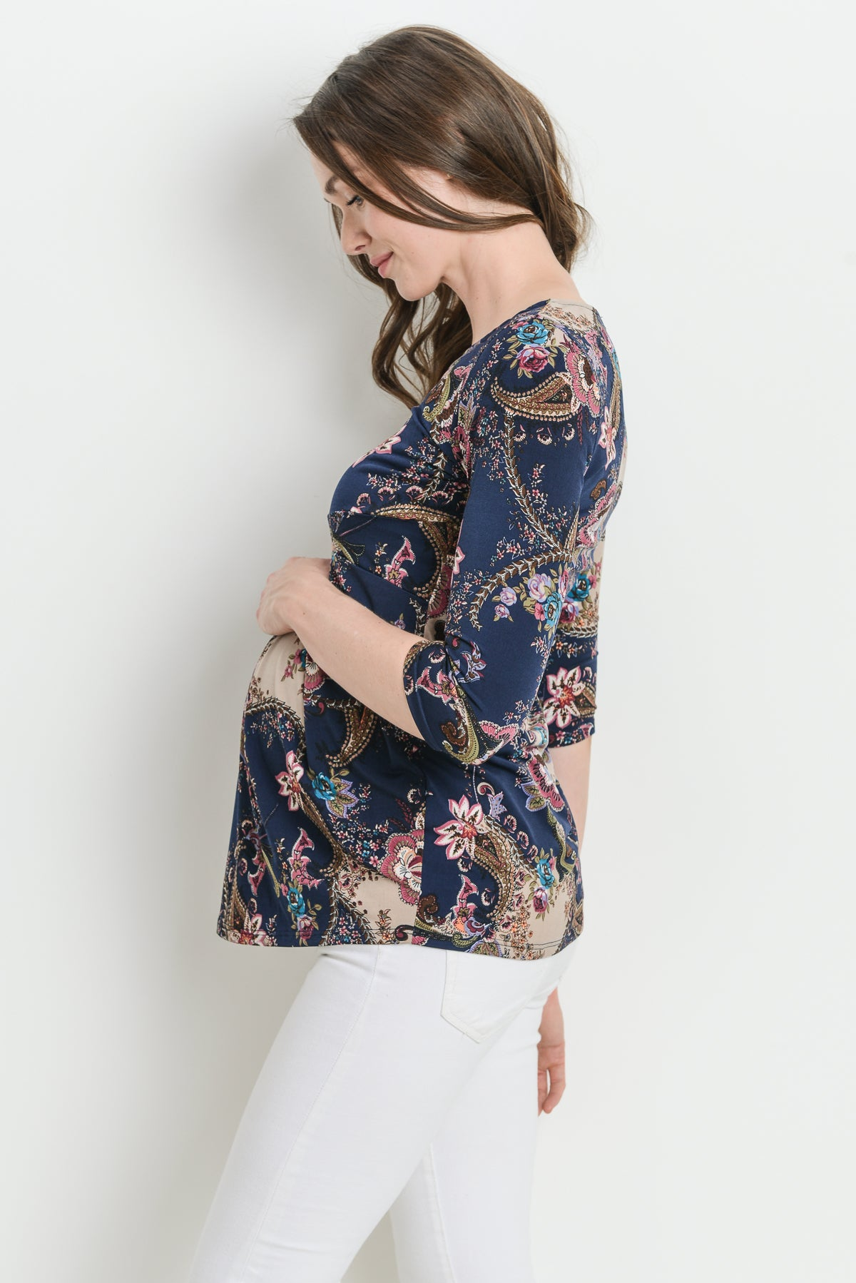 Paisley Pleated Round Neck Maternity Top