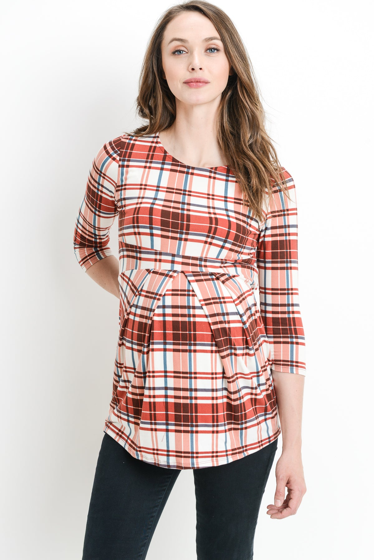 Plaid Front Pleat Maternity Top