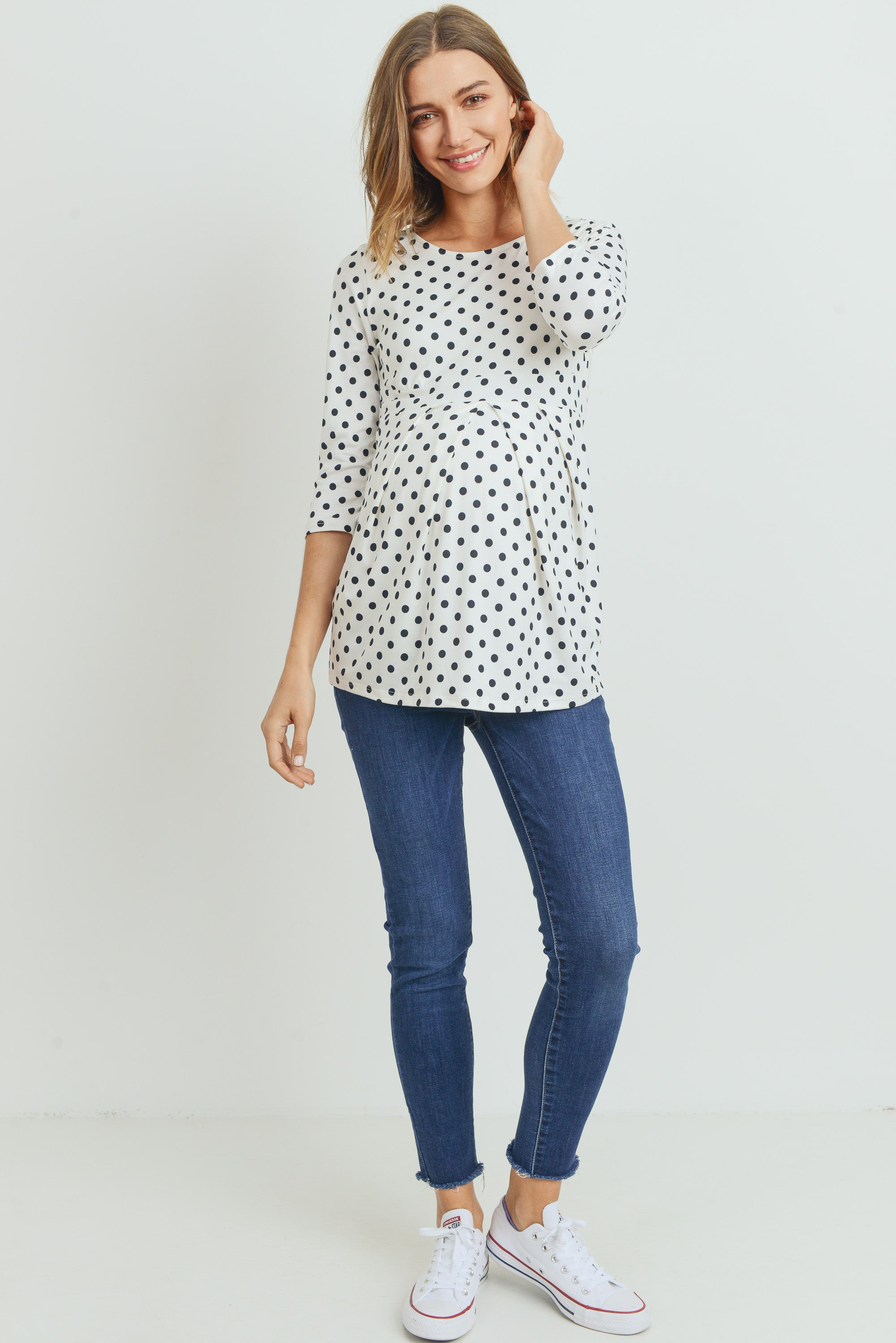Polka Dot Front Pleat Maternity Top