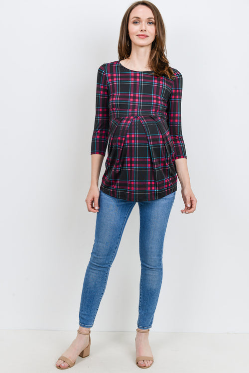 BLACK MULTI PLAID FRONT PLEAT MATERNITY TOP