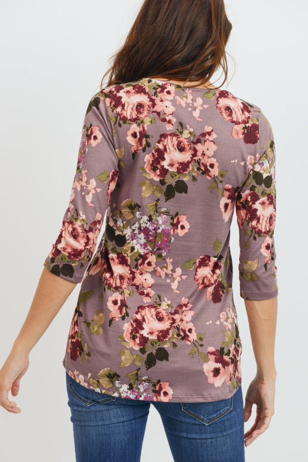 Floral Front Pleat Maternity Top