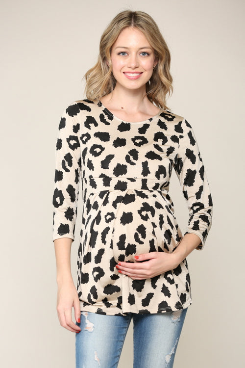 Leopard 3/4 Sleeve Front Pleat Maternity Top