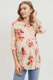 Peach Floral Front Pleat Maternity Top
