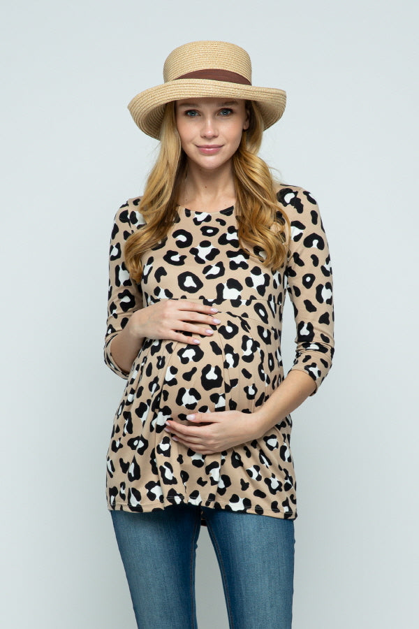 LEOPARD FRONT PLEAT MATERNITY TOP