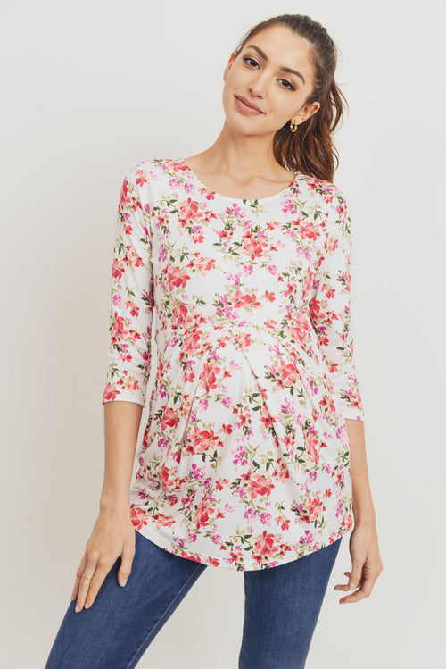 Ivory Floral Front Pleat Maternity Top