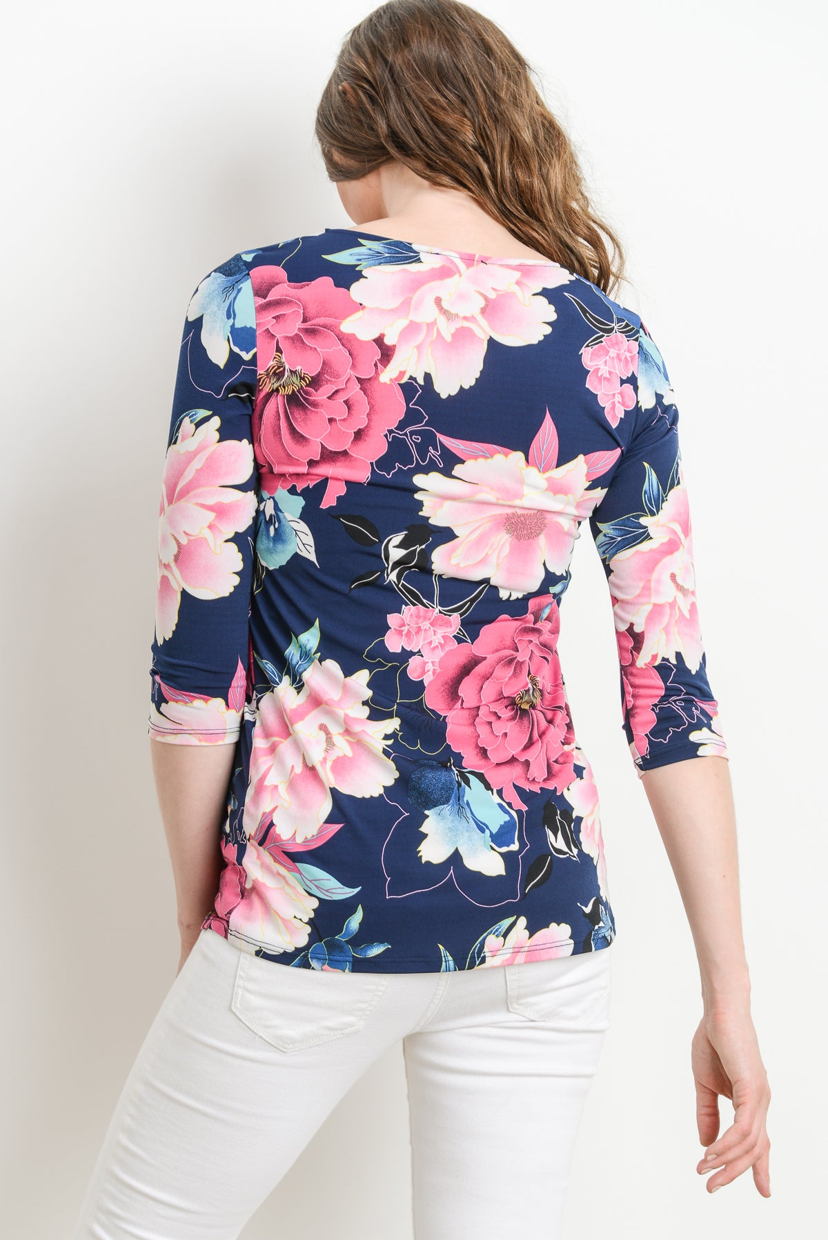 Floral Round Neck Peplum Maternity Top