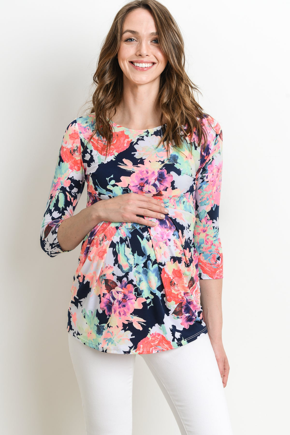 MULTI Floral Round Neck Front Pleat Maternity Top