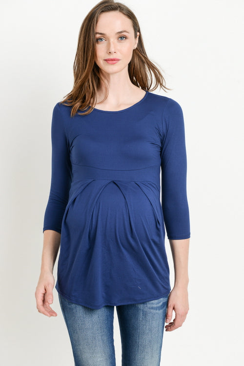 Front Pleat Round Neck Maternity Top