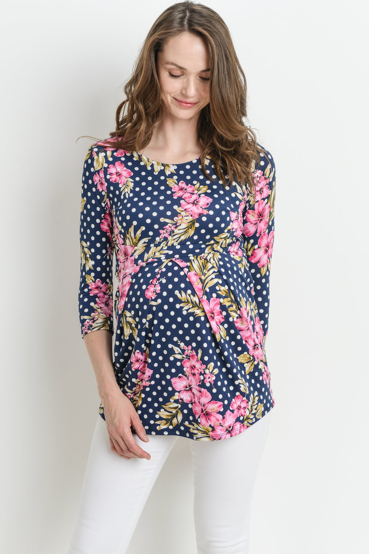Dotted Floral Round Neck Peplum Maternity Top