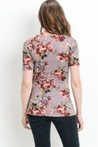 Round Neck Floral Side Tie Maternity Top
