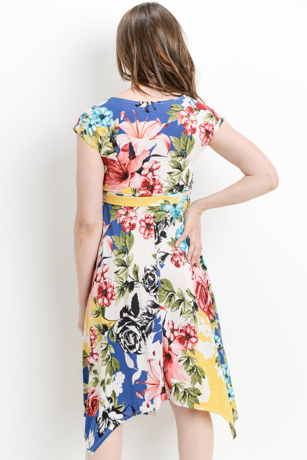 Floral Handkerchief Hem Maternity & Nursing Dress
