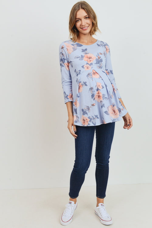 Floral 3/4 Sleeve Maternity Peplum Top