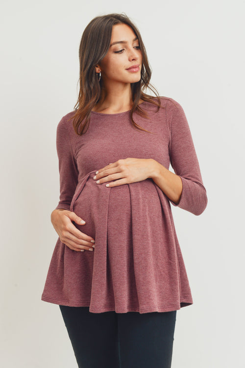 Brushed 2-Tone Terry Empire Waist Maternity Top