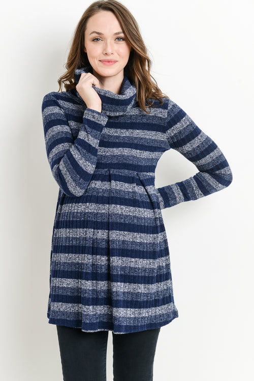 Striped Cowl Neck Maternity Sweater Tunic