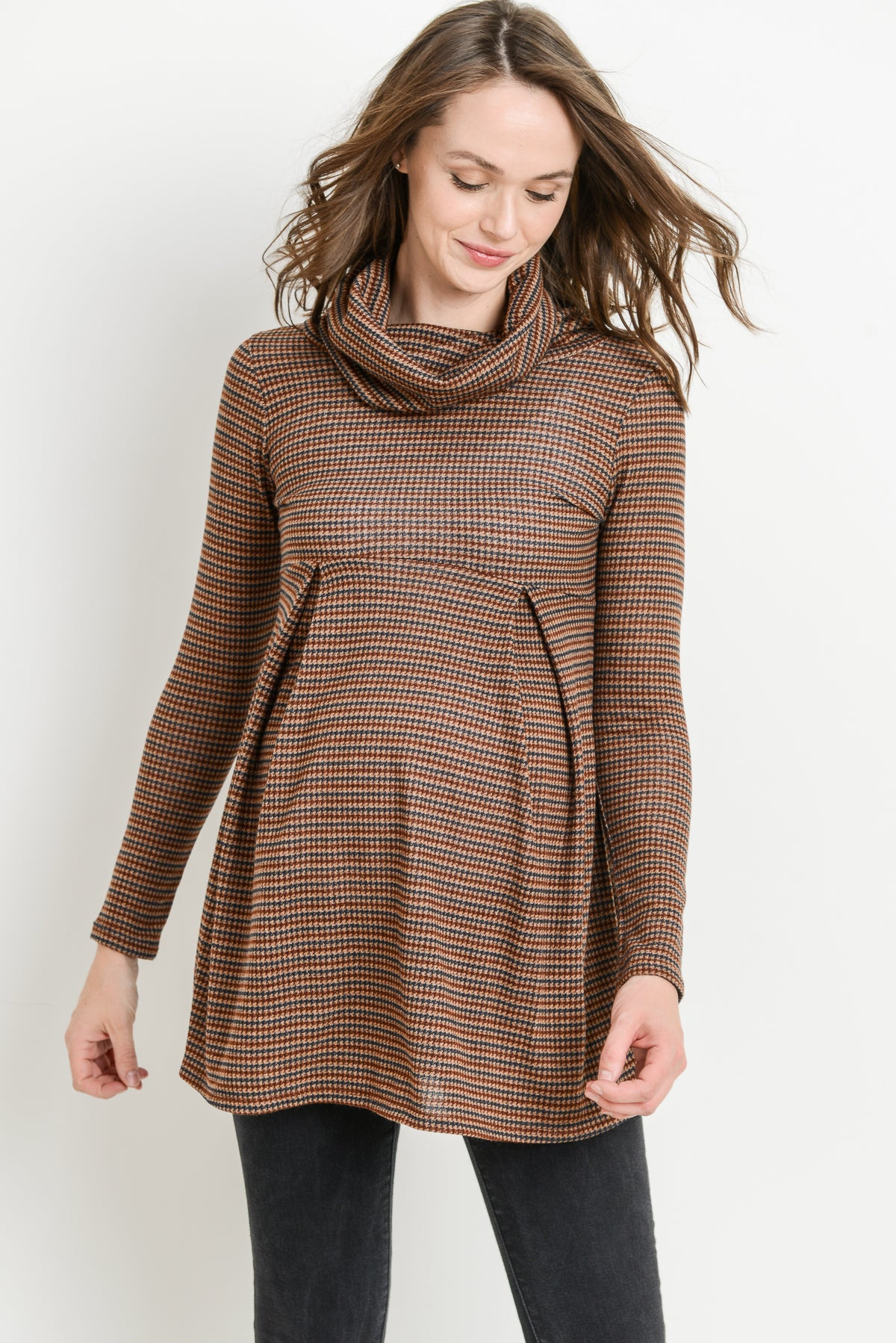 Plaid Cowl Neck Maternity Tunic