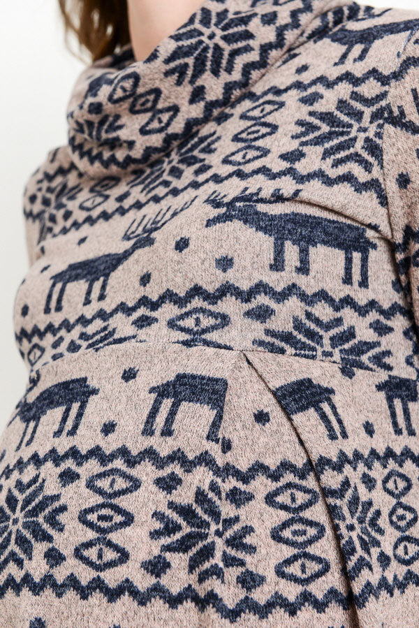 Reindeer Print Cowl Neck Maternity Sweater Tunic