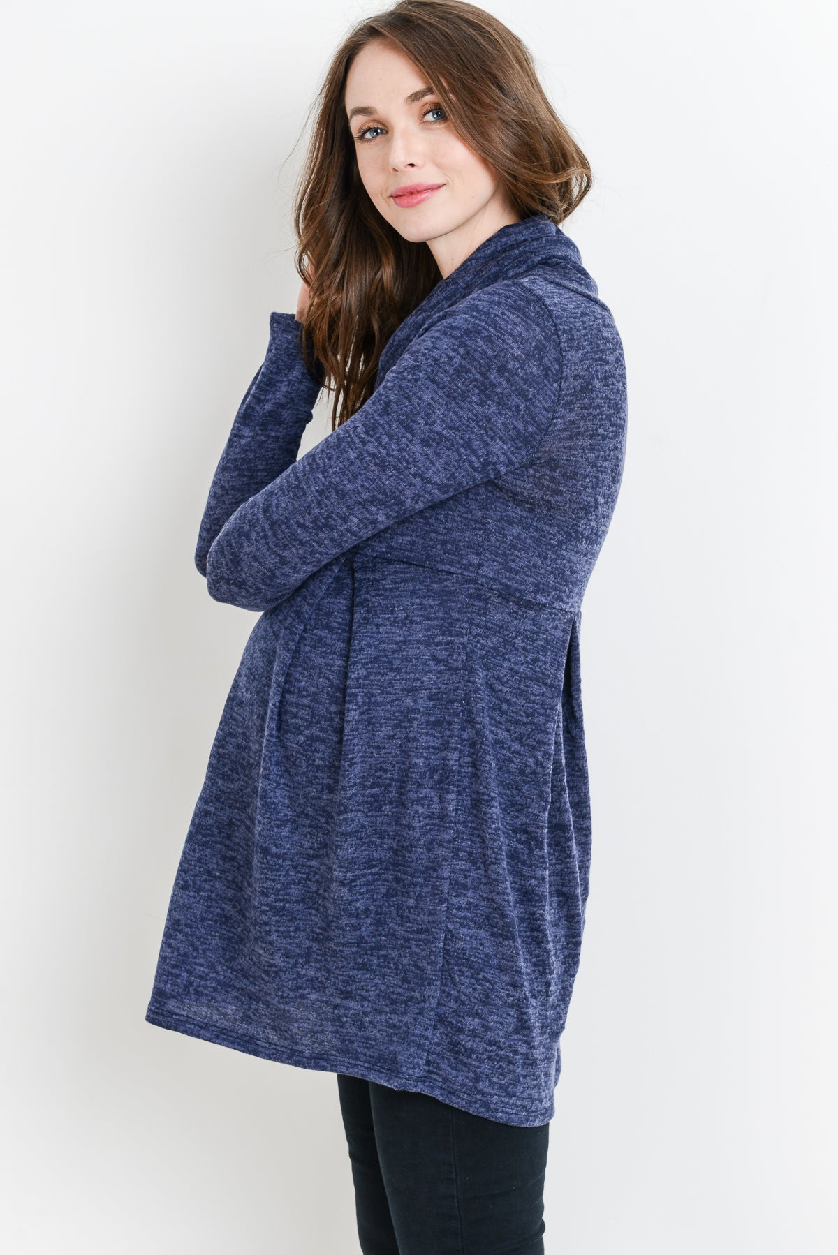 Solid Cowl Neck Maternity Tunic
