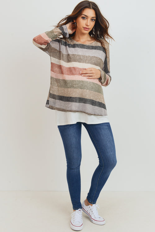 Double Layer Long Sleeve Nursing/Maternity Knit Top