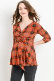 Plaid Faux Wrap Maternity & Nursing Top
