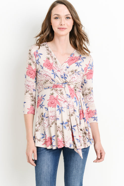 Madeline Faux Wrap Maternity & Nursing Top