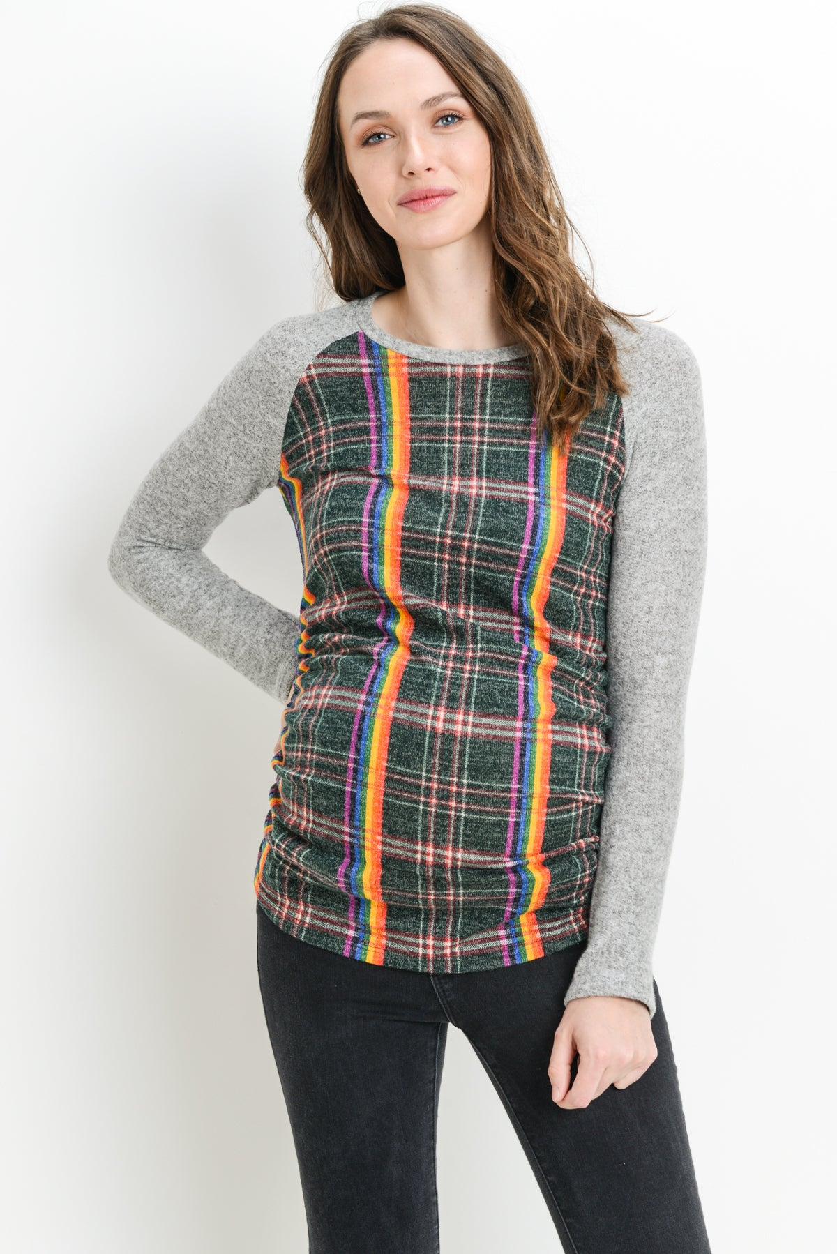 Plaid Raglan Sweater Knit Maternity Top