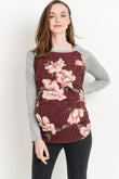 Crew Neck Floral Sweater Knit Maternity Top