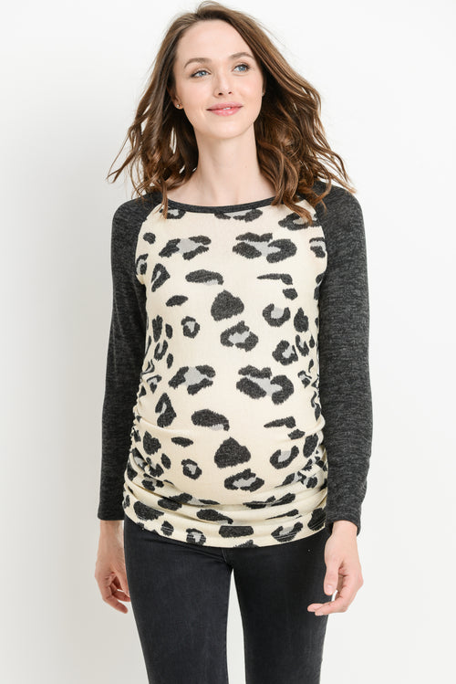 Leopard Raglan Maternity Sweater Top