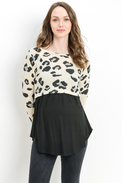 Leopard Color Block Sweater Maternity/Nursing Top