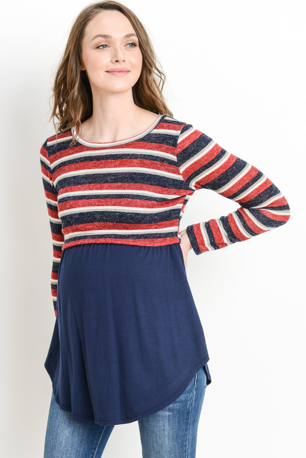 Striped Color Block Maternity & Nursing Sweater Tunic