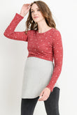 Polka Dot Color Block Sweater Maternity & Nursing Top