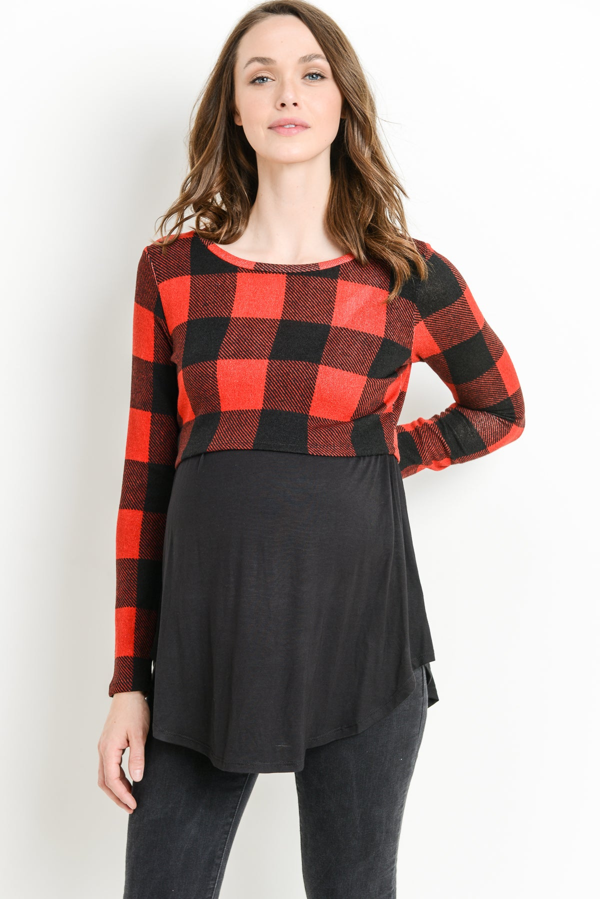 Plaid Color Block Sweater Knit Maternity & Nursing Top