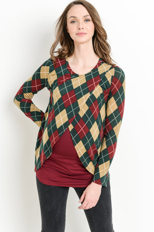 Plaid Sweater Knit Maternity/Nursing Top