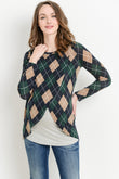 Plaid Overlap Sweater Knit Maternity & Nursing Top