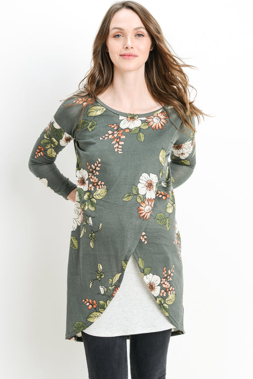 Floral Knit Maternity & Nursing Sweater Tunic