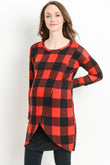 Plaid Tunic Knit Maternity/Nursing Sweater