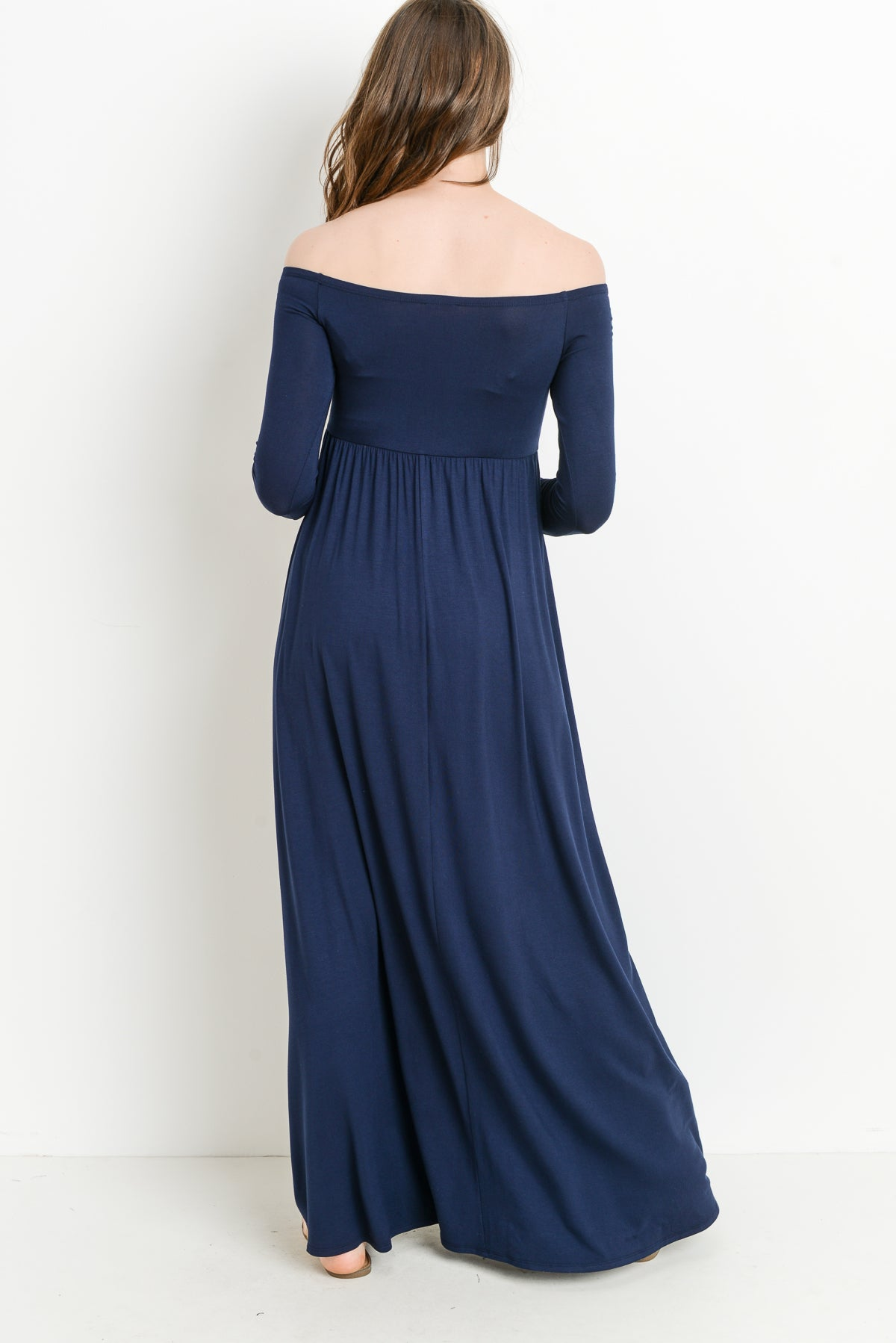 Off Shoulder Long Sleeve Maternity Maxi Dress